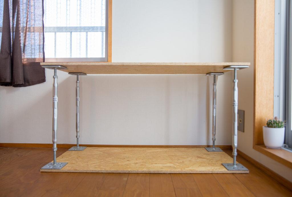 鋼製束とOSB合板のDIY棚完成